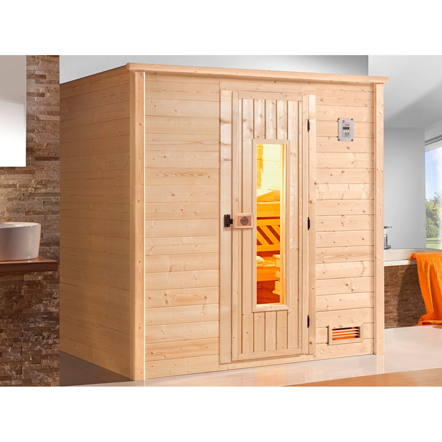 weka massivholz sauna 530 gr 1 mit holzt r ohne ofen. Black Bedroom Furniture Sets. Home Design Ideas