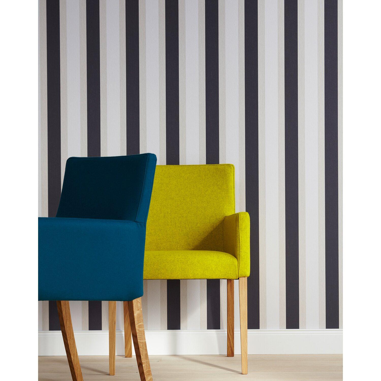 Faszinierend Wandtattoo Streifen Dekoration Von Brigitte Home Papiertapete Grau