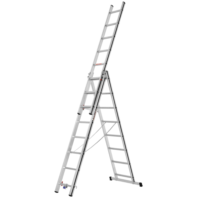 Hymer  Allzweck-Leiter 3 x 8 Sprossen Arbeitshöhe 5,46 m
