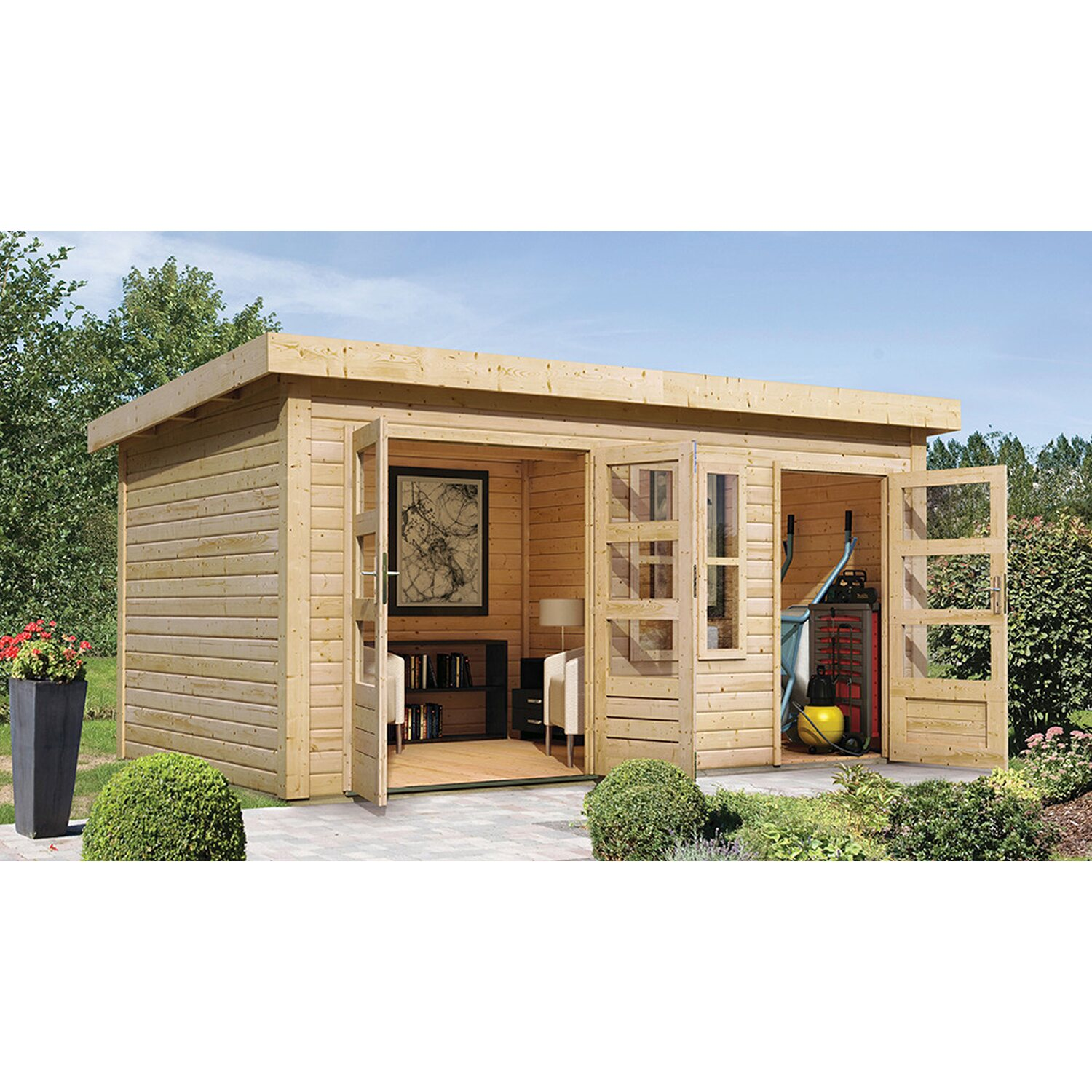 karibu holz gartenhaus v nersborg natur mit mittelwand b x t 422 cm x 272 cm kaufen bei obi. Black Bedroom Furniture Sets. Home Design Ideas