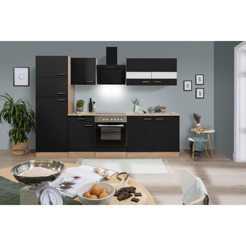 rabatt respekta k chenzeile kb270esscgke 270 cm schwarz eiche s gerau. Black Bedroom Furniture Sets. Home Design Ideas