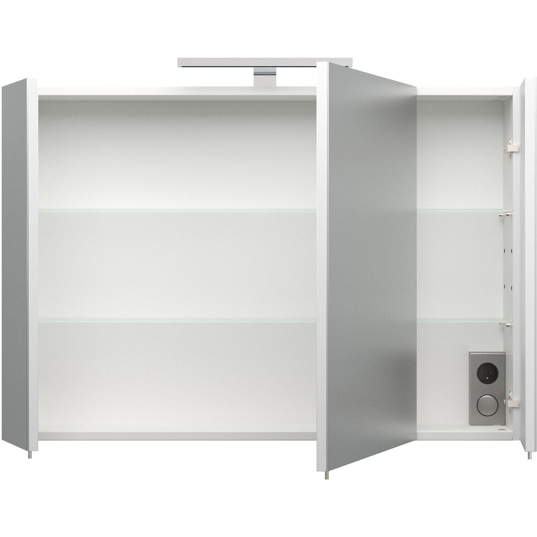 Posseik Spiegelschrank 90 cm Homeline Weiß Hochglanz EEK: A+