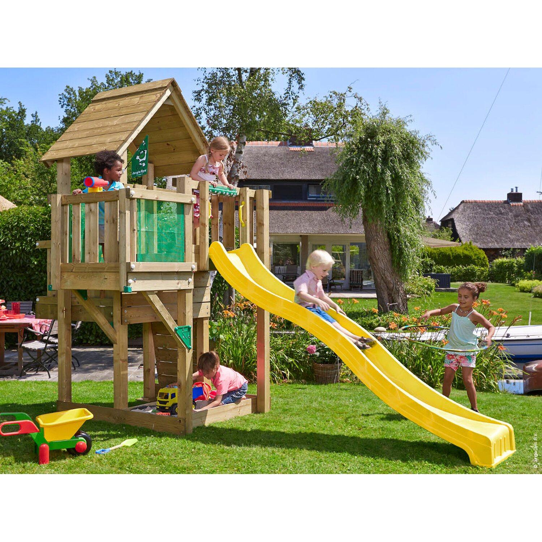 jungle gym holzspielturm cubby balkon mit rutsche gelb. Black Bedroom Furniture Sets. Home Design Ideas