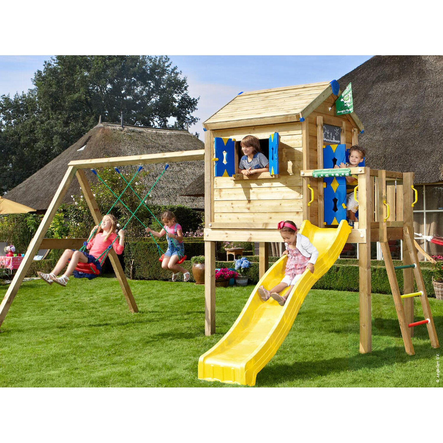 jungle gym spielhaus l 2 schaukel mit rutsche gelb kaufen. Black Bedroom Furniture Sets. Home Design Ideas