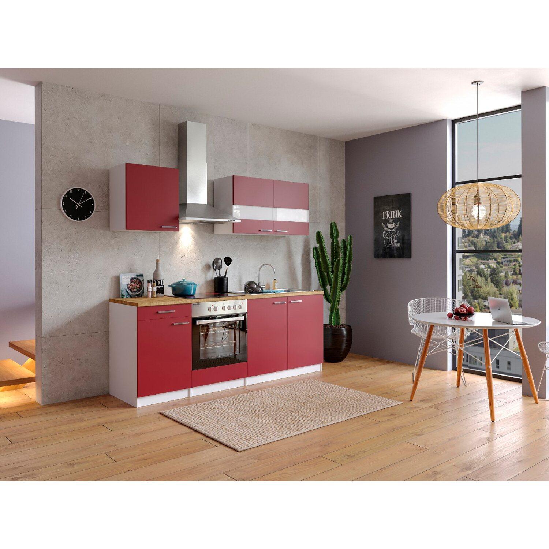 Respekta Küchenzeile KB210WRC 210 cm Rot-Weiß Preisvergleich