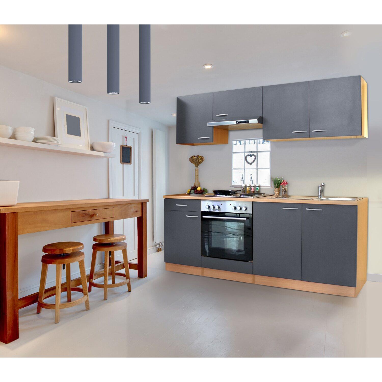 Respekta Küchenzeile KB210BGE 210 cm Grau-Buche Nachbildung kaufen ...