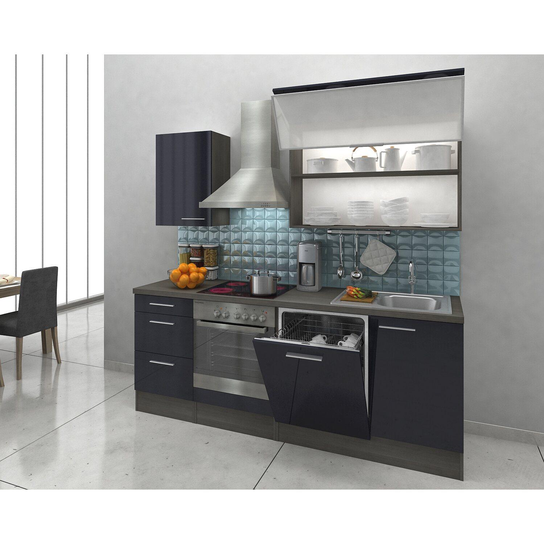 Attraktiv Küche 220 Cm Dekoration Von Respekta Premium Küchenzeile Rp220esc Schwarz-eiche Grau Nachbildung