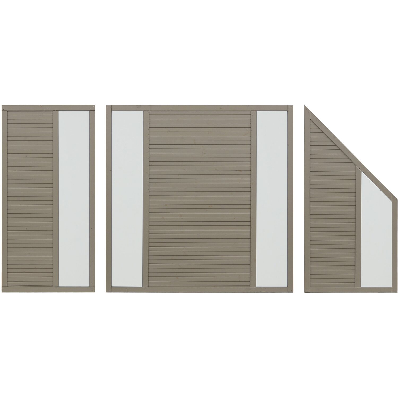 sichtschutzzaun element boston grau 180 cm x 90 cm kaufen bei obi. Black Bedroom Furniture Sets. Home Design Ideas