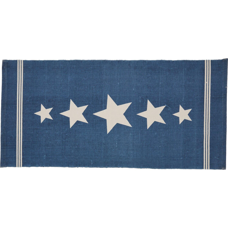 Handwebteppich Stars Blau 60 cm x 120 cm