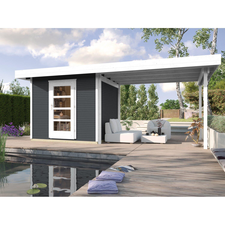 Weka Holz-Gartenhaus wekaLine Anthrazit 210 cm x 205 cm mit Anbau ...