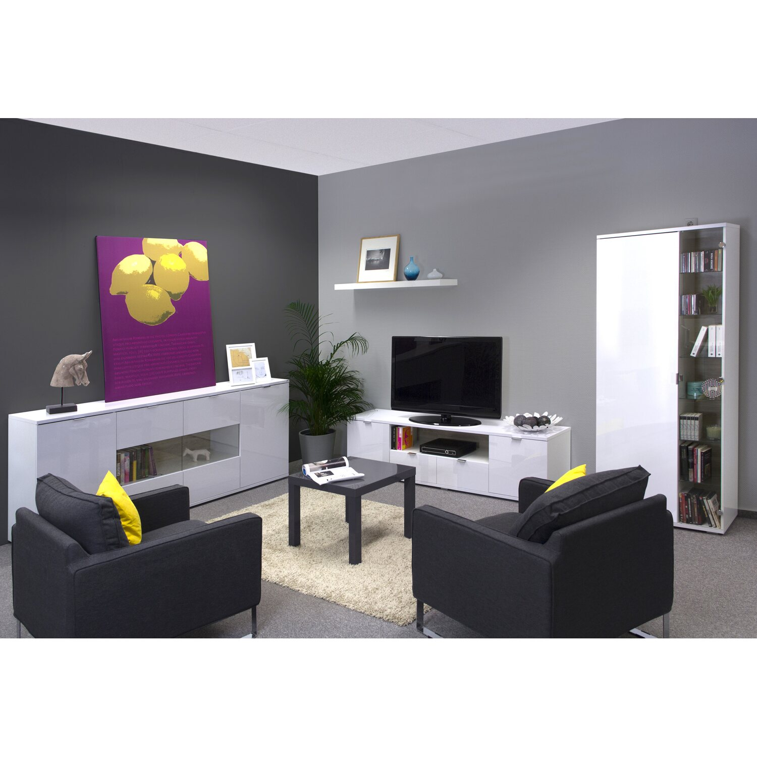hochwertige wohnzimmer vitrine mit glast r in brilliant wei kaufen bei obi. Black Bedroom Furniture Sets. Home Design Ideas