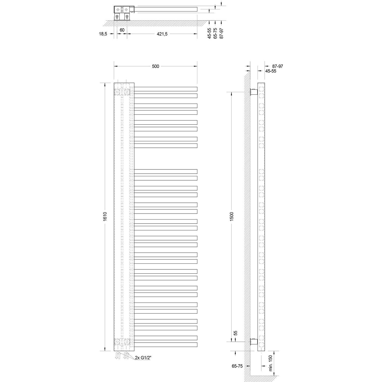 schulte design-heizkörper bologna 812 w alpinweiß version links
