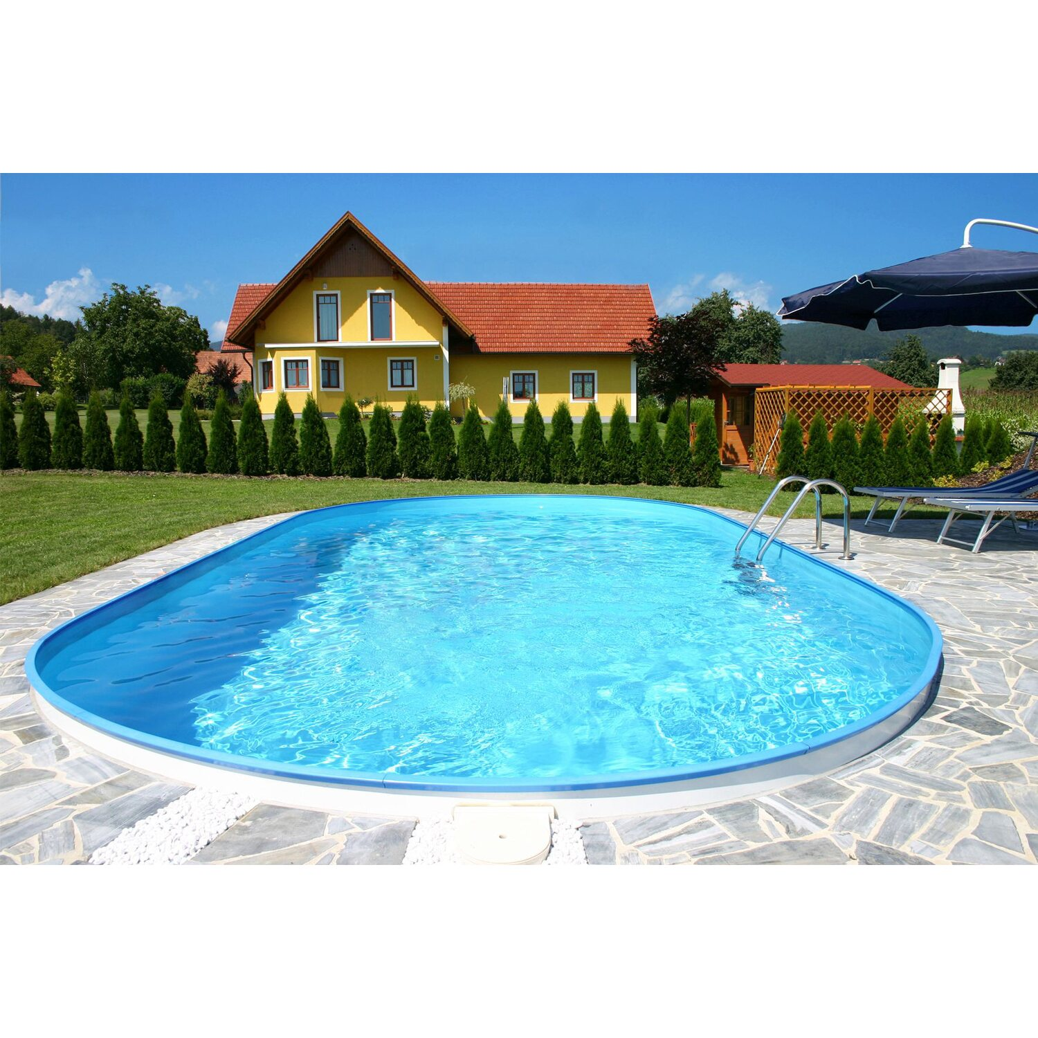Stahlwand pool set faro einbaubecken ovalform 600 cm x 320 for Obi pool set