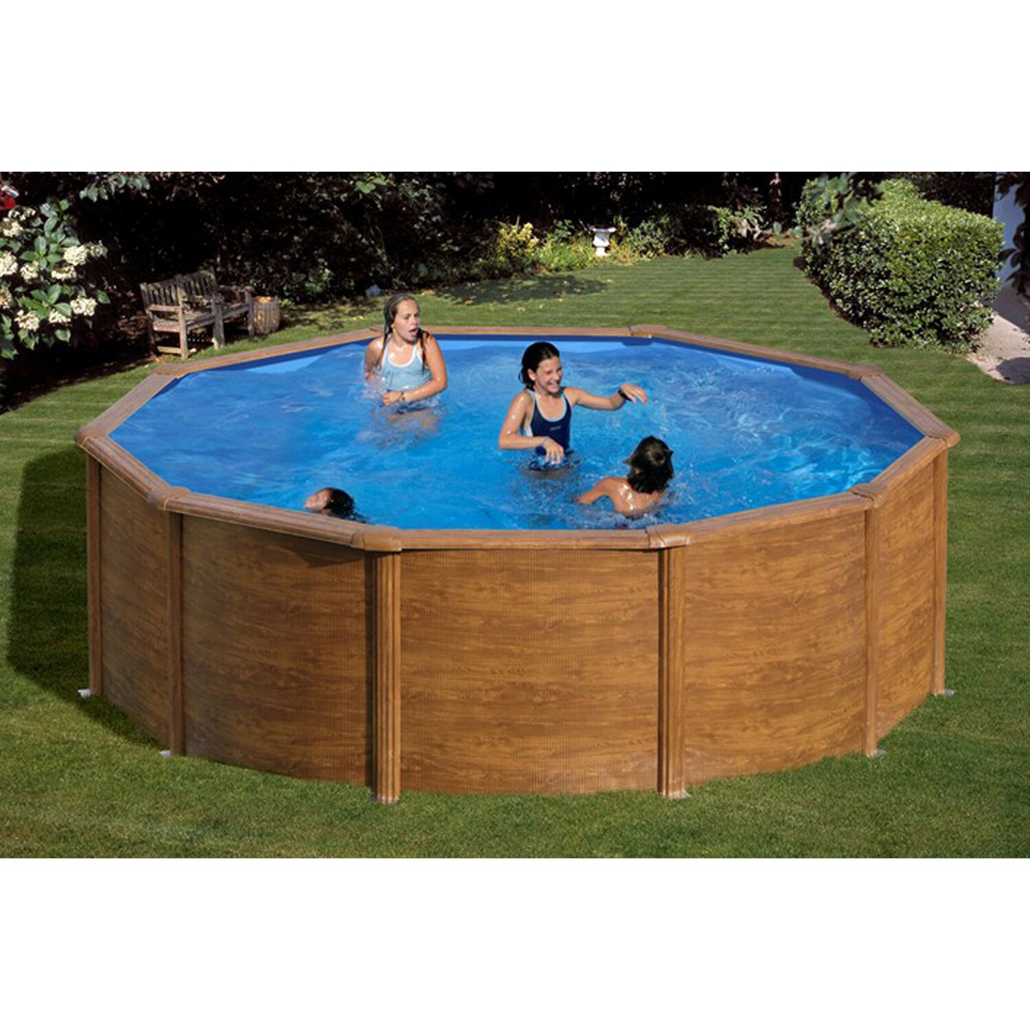 Summer fun stahlwand pool set holz dekor rhodos for Rundpool stahlwand
