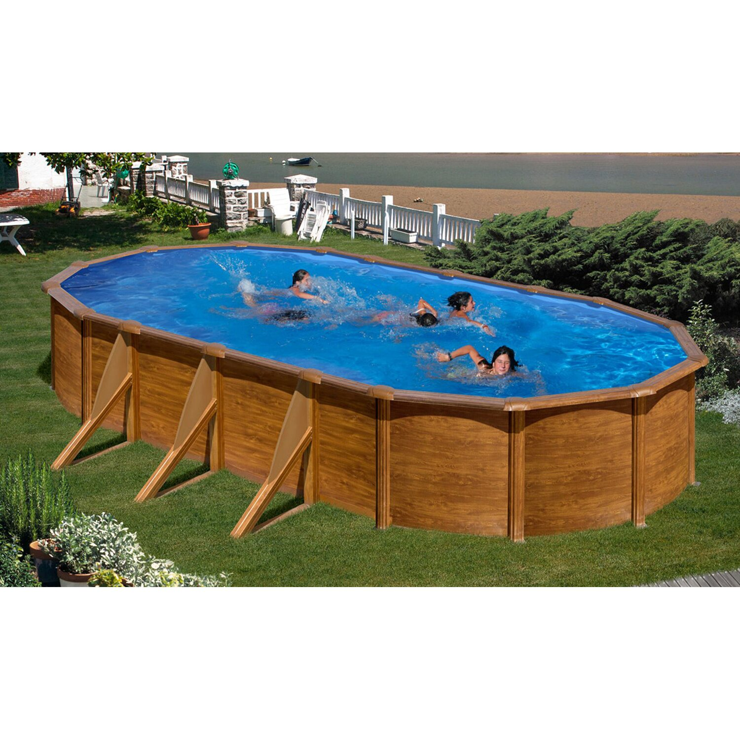pool set holz dekor ravenna aufstellbecken oval 610 cm x 375 cm x 132 cm kaufen bei obi. Black Bedroom Furniture Sets. Home Design Ideas
