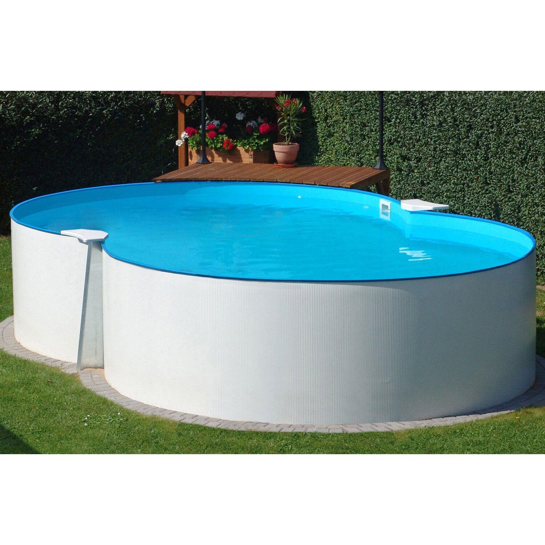Stahlwand pool set malta aufstellbecken achtform 540 cm x for Garten pool stahlwandbecken
