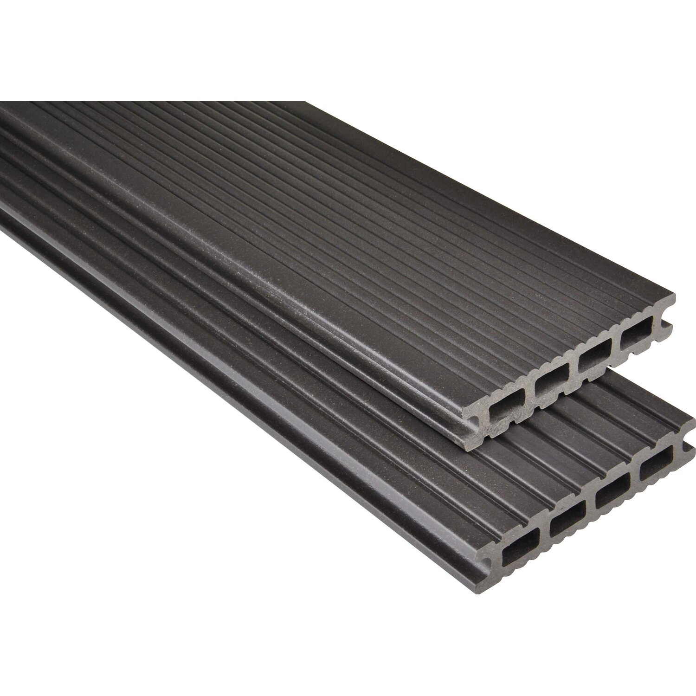 Kovalex  Terrassendielen WPC Kammerprofil Graubraun mattiert 26 x 145 mm