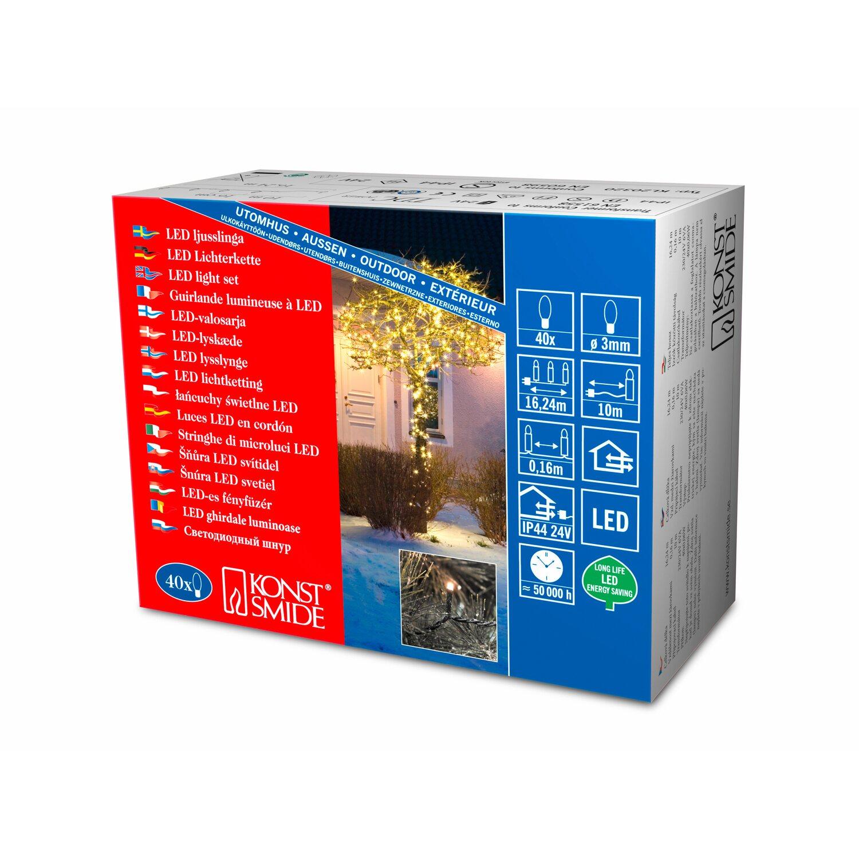 Konstsmide Micro LED Lichterkette für Außen 24V Außentrafo 80 warm weiße Dioden