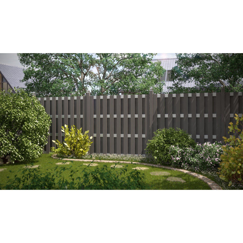sichtschutzzaun element jumbo wpc anthrazit aluminium 179 cm x 179 cm kaufen bei obi. Black Bedroom Furniture Sets. Home Design Ideas