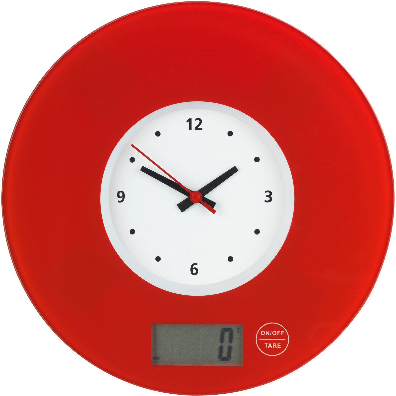 Wenko Kuchenwaage Time Mit Uhr Rot 2 5 Cm X 19 Cm X 19 Cm Kaufen Bei Obi