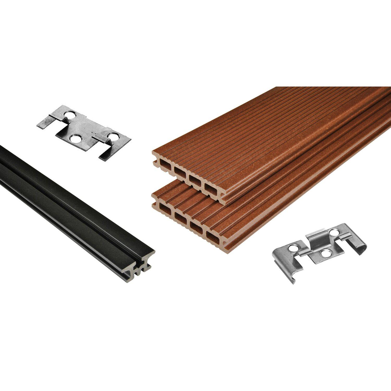 Kovalex  WPC Terrassen-Bausatz Exklusiv mattiert Braun 300 cm x 300 cm