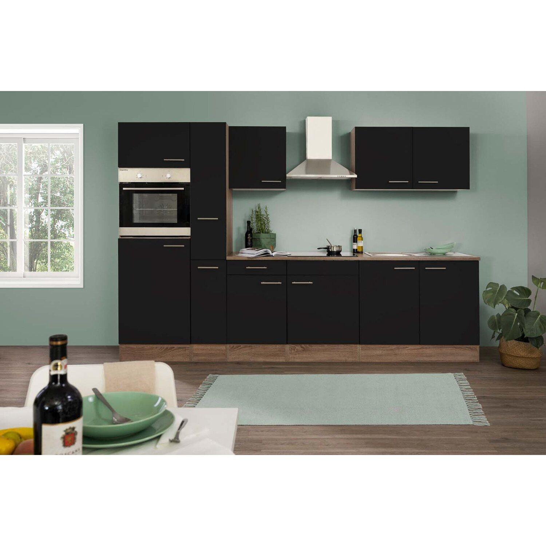 respekta k chenzeile ohne e ger te 300 cm schwarz seidengl eiche york kaufen bei obi. Black Bedroom Furniture Sets. Home Design Ideas