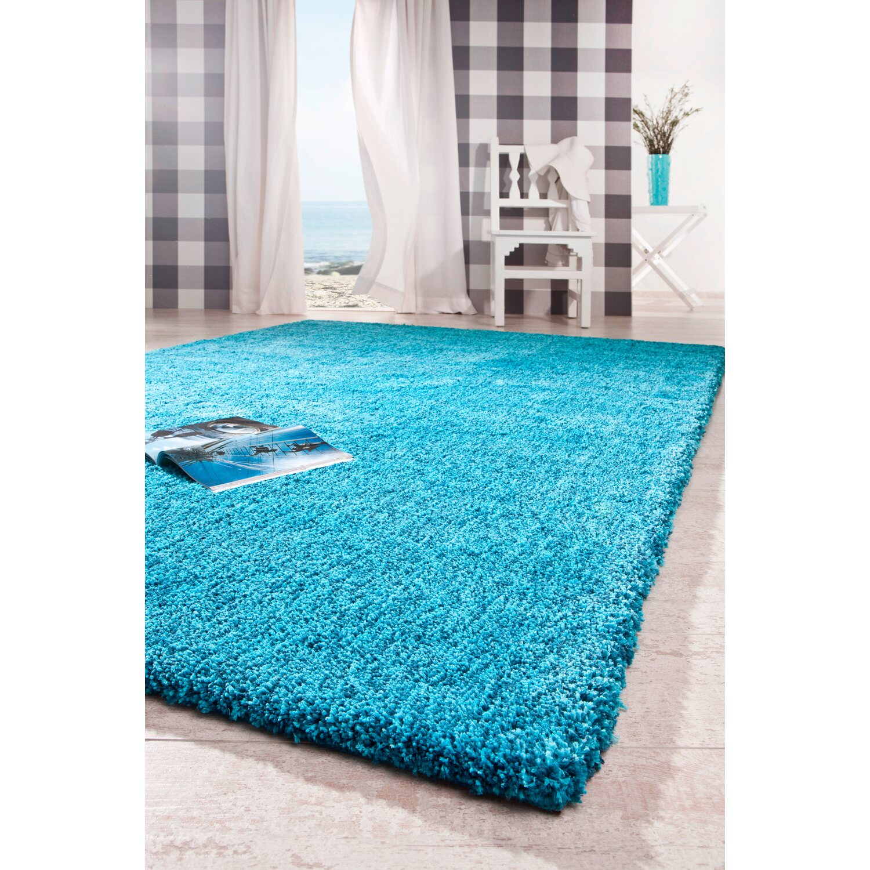 hochflor teppich arezzo t rkis 140 cm x 200 cm kaufen bei obi. Black Bedroom Furniture Sets. Home Design Ideas