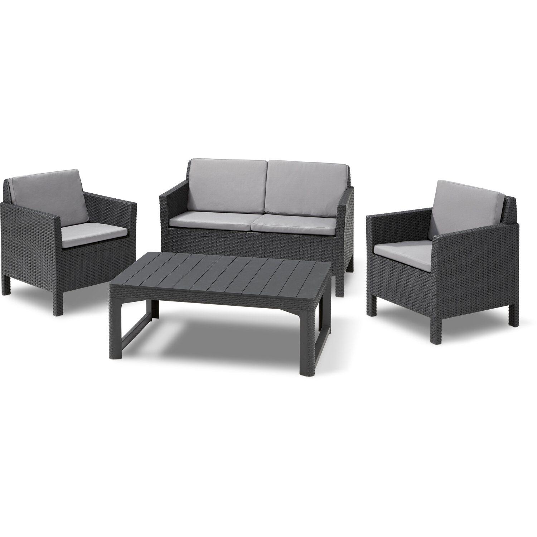 Allibert Gartenmobel Set Lounge Gruppe Orlando Polyrattan Grau 5