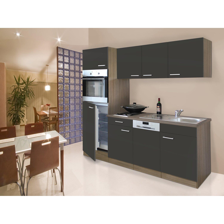 Respekta Küchenzeile 205 Cm Grau Eiche York