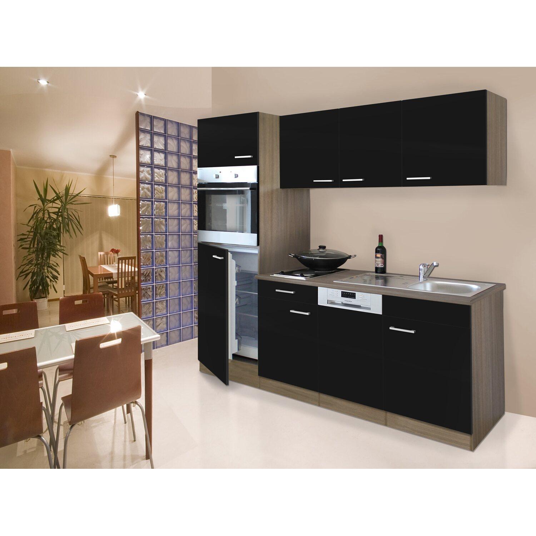 Respekta Küchenzeile 205 cm Schwarz-Eiche York