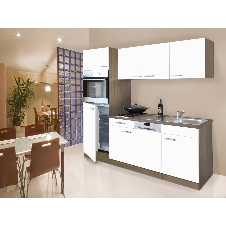 Respekta Küchenzeile 205 cm Weiß-Eiche York