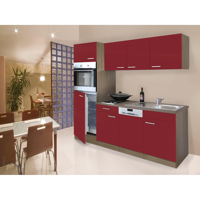 Respekta Küchenzeile 205 cm Rot-Eiche York