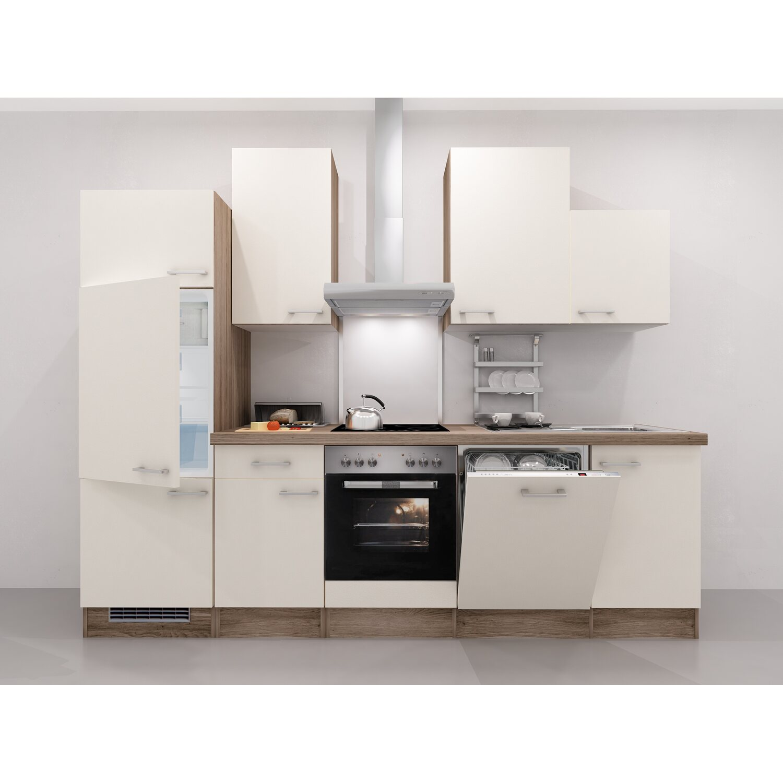 Flex-Well Exclusiv Küchenzeile Eico 280 cm Magnolienweiß-Tennessee ...