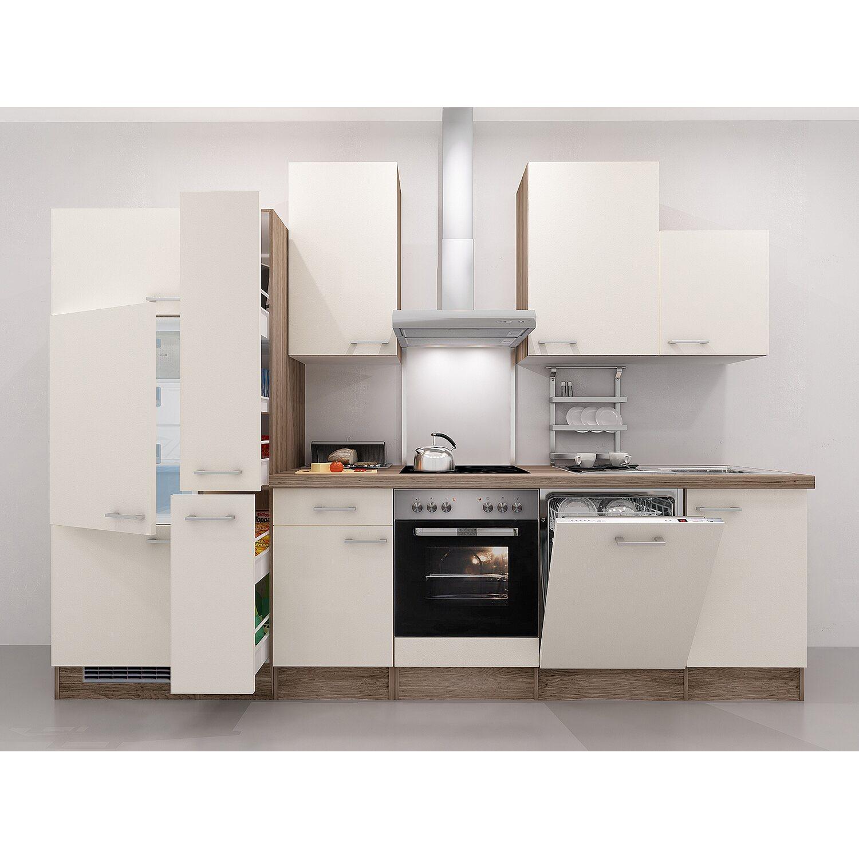 Flex-Well Exclusiv Küchenzeile Eico 310 cm Magnolienweiß-Tennessee ...