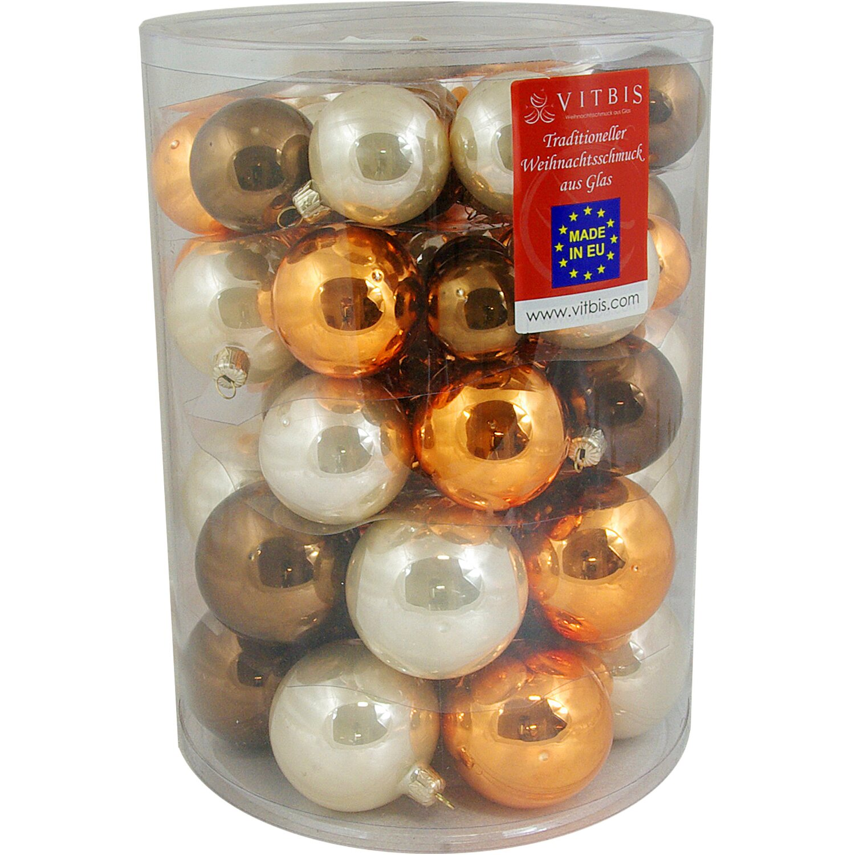 Vitbis glasweihnachtskugeln set 4 7 cm 60 st ck capuccino kaufen bei obi - Obi weihnachtskugeln ...