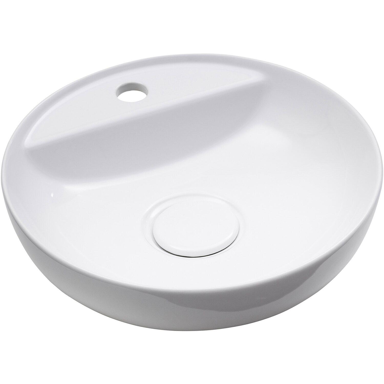 Aufsatz-Waschtisch Stabilo-Sanitaer Rund Waschbecken Design 36 cm Komplettset Aufsatzbecken hochwertige Keramik Farbe Wei/ß