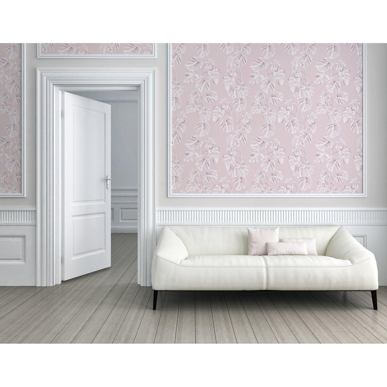 A.S. Création Vliestapete Greenery Blätter Rosa-Weiß ...
