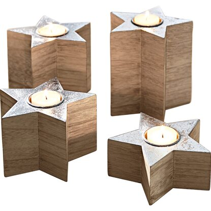 Best of home Teelichthalter-Set 4-teilig Wood Stars