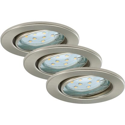 Briloner LED-Einbauleuchten 3er-Set Nickel matt EEK: A+