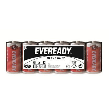 Eveready Heavy Duty Kohle-Zink Batterie Baby C 6 Stück