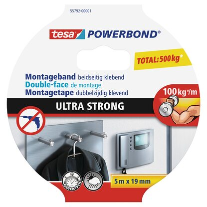 Tesa Powerbond Montageband Ultra Strong 5 m x 19 mm
