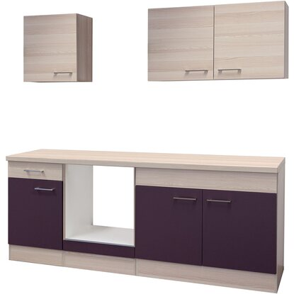 flex well k chenzeile 210 cm ohne e ger te focus akazie aubergine akazie kaufen bei obi. Black Bedroom Furniture Sets. Home Design Ideas