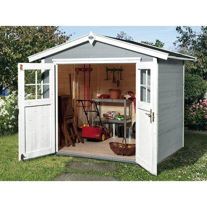 obi holz gartenhaus monza b grau wei bxt 205 cm x 209 cm kaufen bei obi. Black Bedroom Furniture Sets. Home Design Ideas