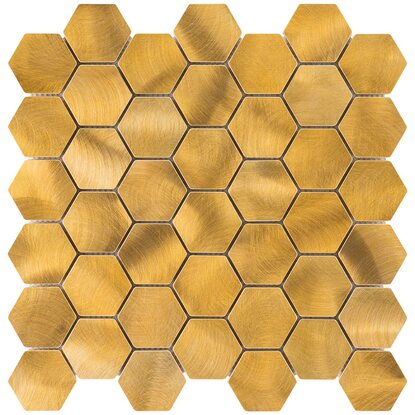Mosaik Aluminium Gold Hexagon 30 cm x 30 cm