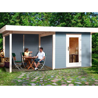 obi holz gartenhaus florenz b gr 3 grau wei bxt 530x240 cm davon 295 cm terr kaufen bei obi. Black Bedroom Furniture Sets. Home Design Ideas