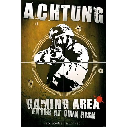 Maxiposter Achtung - Gaming 61 cm x 91,5 cm