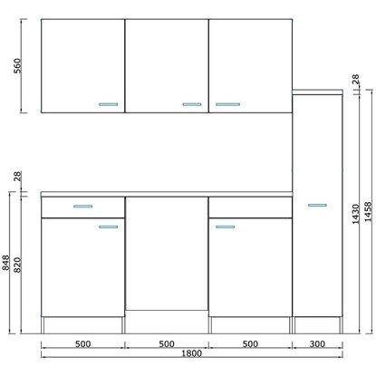 respekta k chenzeile kb180eswmic 180 cm wei eiche s ger u nachbildung kaufen bei obi. Black Bedroom Furniture Sets. Home Design Ideas