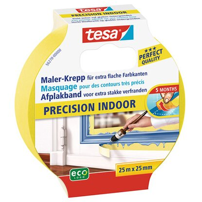 Tesa Maler-Krepp Precision Indoor Gelb 25 m x 25 mm