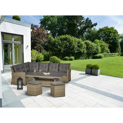 Lounge-Set mit Esstisch Vermont 5-teilig Polyrattan Links Forest Jungle