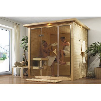 karibu sauna alabasta 1 mit ganzglasfront dachkranz kaufen bei obi. Black Bedroom Furniture Sets. Home Design Ideas